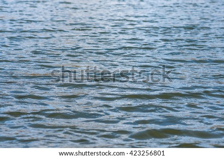 Waves in the river with little wind