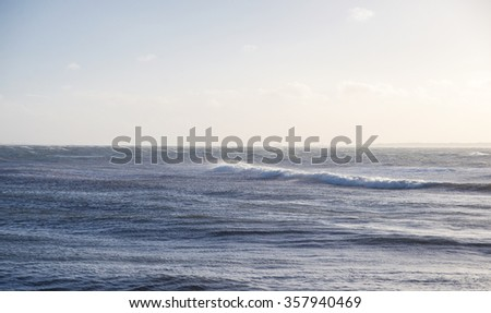 waves in the Strait of Oresund - stock photo