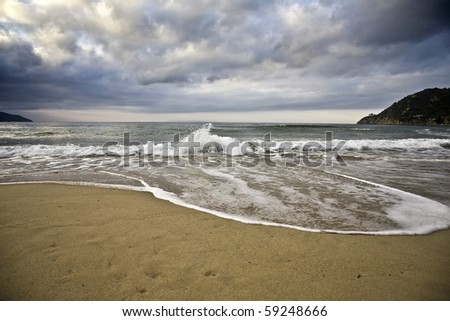 waves in winter - stock photo