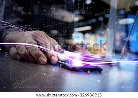 Waves of blue light and businessman using on smart phone with digital layer effect as concept - stock photo