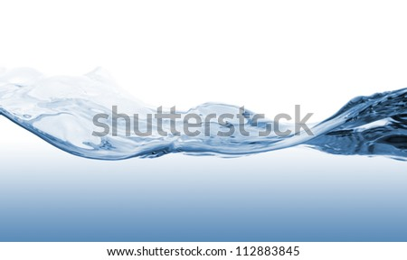 Waves of blue water on white background