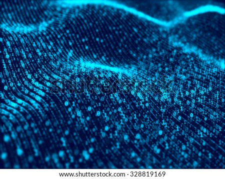 Waves of digital information concept - binair code background - stock photo