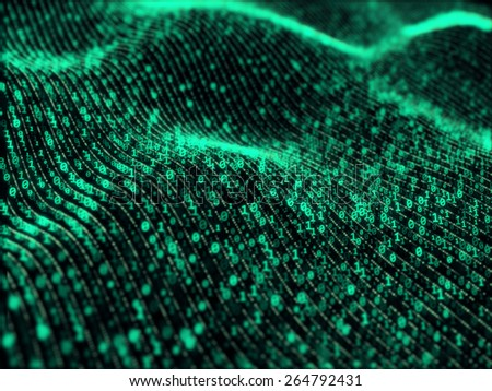 Waves of digital information concept - binare code background - stock photo