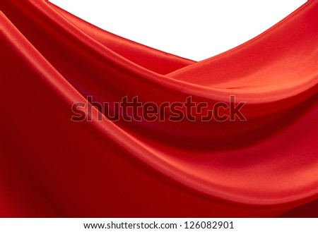 Waves of red silk as a design element - stock photo