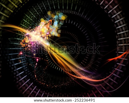 Waves of Technology series. Abstract design made of lights, fractal and technological elements on the subject of science, philosophy, metaphysics and modern technology - stock photo