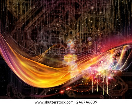 Waves of Technology series. Arrangement of lights, fractal and technological elements on the subject of science, philosophy, metaphysics and modern technology - stock photo
