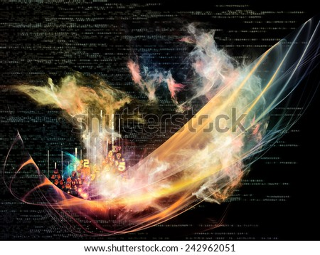 Waves of Technology series. Graphic composition of lights, fractal and technological elements to serve as complimentary design for subject of science, philosophy, metaphysics and modern technology - stock photo