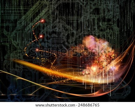 Waves of Technology series. Interplay of lights, fractal and technological elements on the subject of science, philosophy, metaphysics and modern technology - stock photo