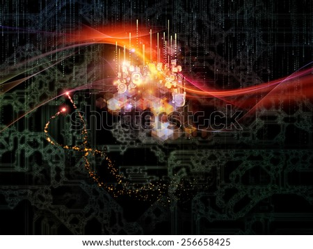 Waves of Technology series. Visually attractive backdrop made of lights, fractal and technological elements suitable as background for works on science, philosophy, metaphysics and modern technology