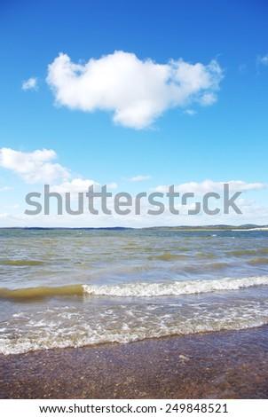 waves on alqueva lake, Portugal - stock photo