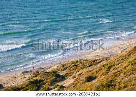 Waves on Atlantic Ocean coast, Gibraltar strait, Morocco - stock photo