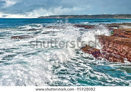 waves on rocks at the coast