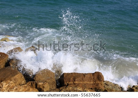 waves on the pier - stock photo
