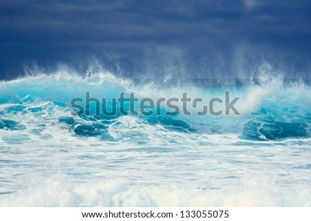 Waves on the surface of the ocean - stock photo