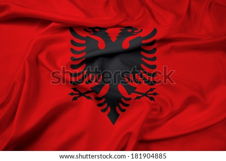 Waving Albania Flag - stock photo