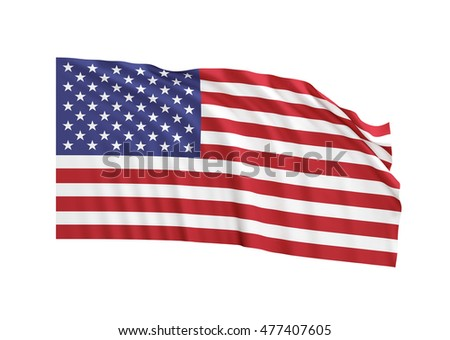 Waving American Flag isolated on white background. Great use for USA and presidential elections related concepts. Clippimg path is included.