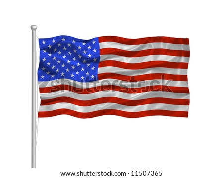 waving American Flag on white