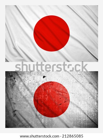Waving and grunge flags of Japan