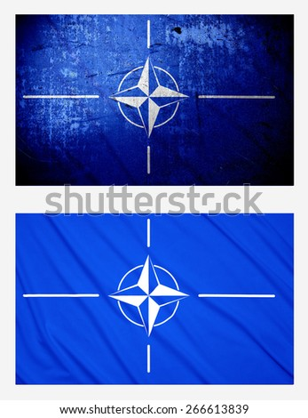Waving and Grunge flags of Nato - stock photo