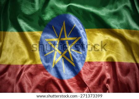 waving and shining ethiopian flag - stock photo
