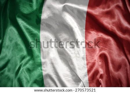 waving and shining italian flag - stock photo