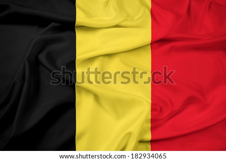 Waving Belgium Flag - stock photo