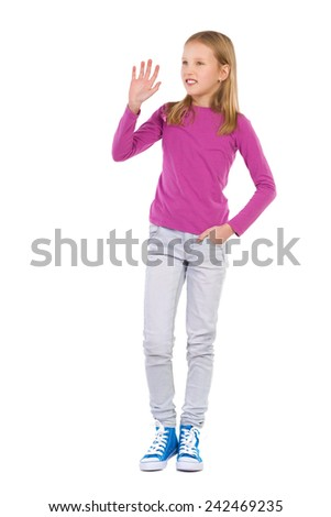 Waving blond girl. Young girl waving hand and looking away. Full length studio shot isolated on white. - stock photo