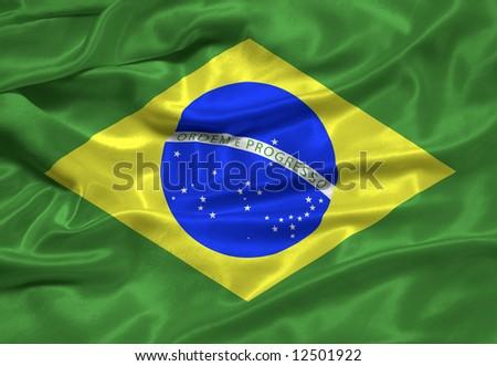 waving Brazlian Flag close up - stock photo