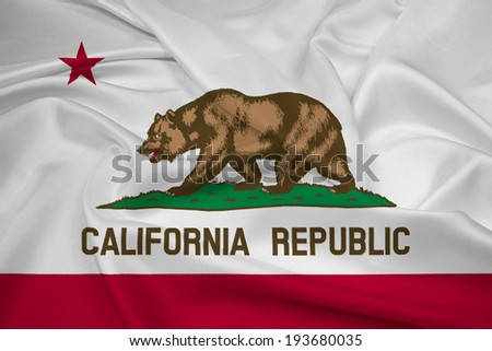 Waving California State Flag - stock photo