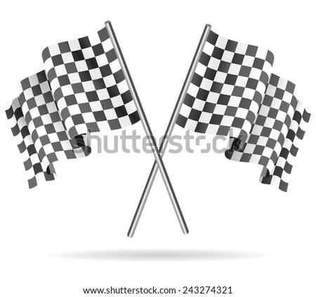 Waving Checkered black and white racing flag. Raster version - stock photo