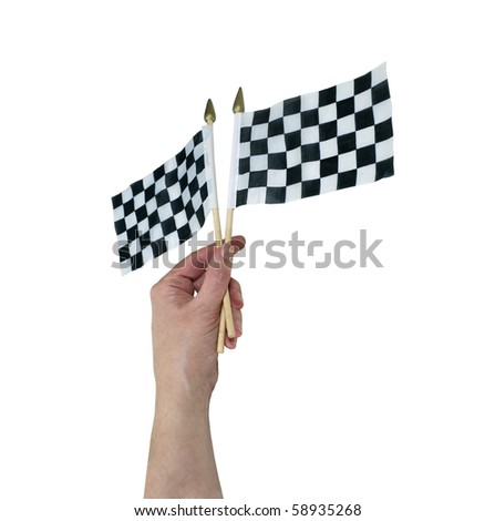 Waving checkered flags that symbolize the finish line - path included