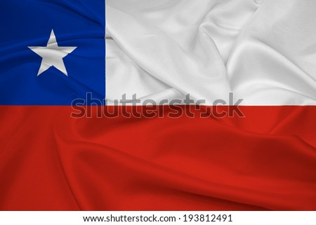 Waving Chile Flag - stock photo