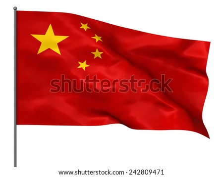 Waving Chinese flag isolated over white background - stock photo