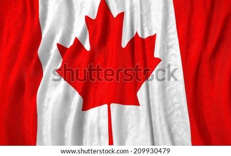 Waving close up canada Flag - stock photo