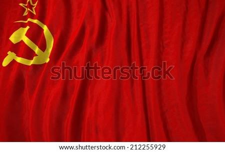 Waving close up cccp Flag  - stock photo