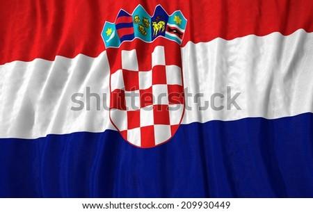 Waving close up croatia Flag - stock photo
