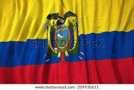 Waving close up ecuator Flag - stock photo