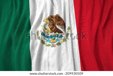 Waving close up mexico Flag - stock photo