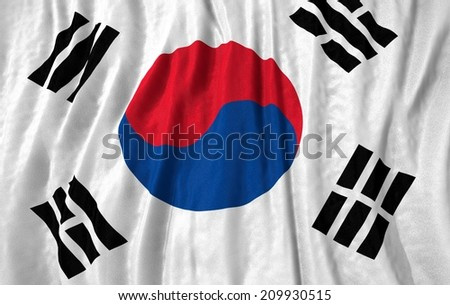 Waving close up south korea Flag - stock photo