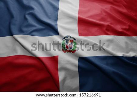 Waving colorful Dominican Republic flag - stock photo