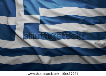 Waving colorful Greek flag - stock photo