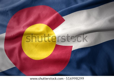 waving colorful national flag of colorado state.
