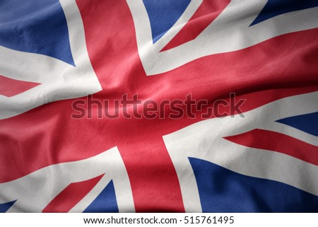 waving colorful national flag of great britain.