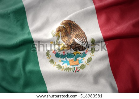 waving colorful national flag of mexico.