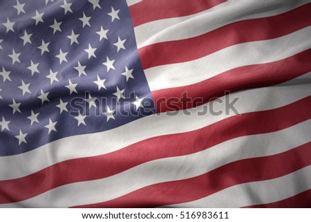 waving colorful national flag of united states of america.