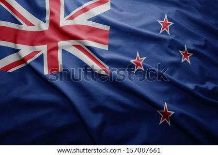 Waving colorful New Zealand flag - stock photo