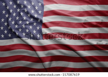 Waving colorful United states of america flag