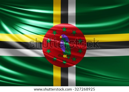 Waving Dominica  flag of silk