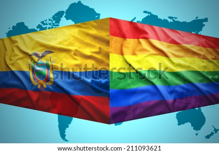 Waving Ecuadoran and Gay flags of the political map of the world