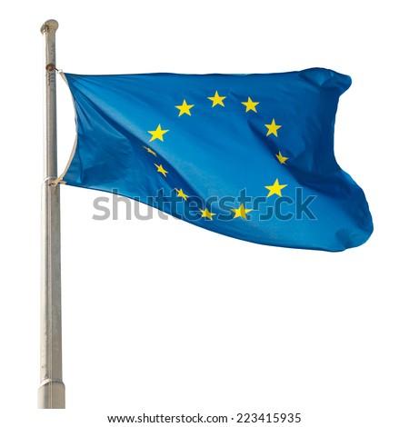 Waving European Union EU flag isolated on white background - stock photo